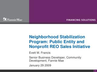 Neighborhood Stabilization Program: Public Entity and Nonprofit REO Sales Initiative