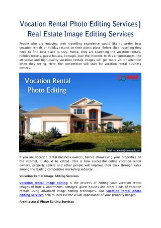 Vocation Rental Photo Editing Services | Real Estate Image Editing Services