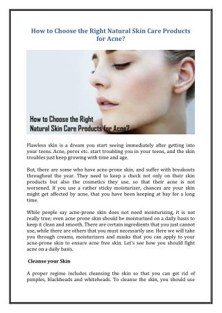 How to Choose the Right Natural Skin Care Products for Acne?