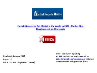 MRO: Electric Generating Set Market in the World Forecast to 2021
