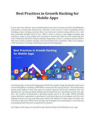Best Practices in Growth Hacking for Mobile Apps