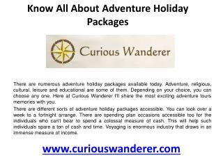 Know all about adventure holiday packages