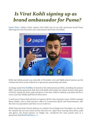 Is Virat Kohli signing up as brand ambassador for Puma?