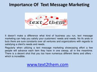 Importance of  text message marketing