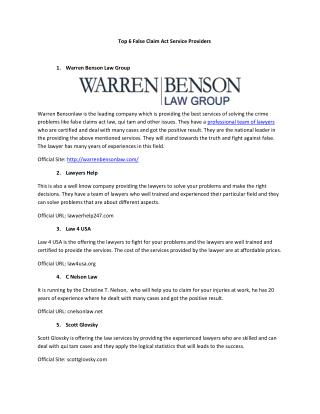 Top 6 False Claim Act Service Providers