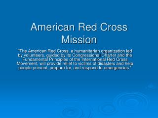 American Red Cross Mission