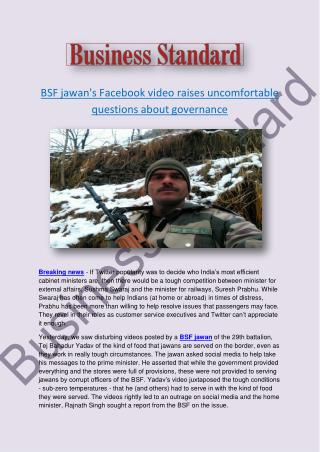 BSF jawan's Facebook video raises uncomfortable questions about governance