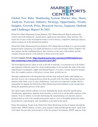 New Baby Monitoring System Market Growth, Opportunity And Global Industry Outlook To 2021