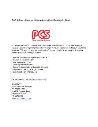 POS Software Singapore Offers Secure Retail Solution In Cloud