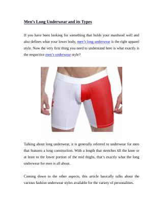 Men's Long Underwear and its Types