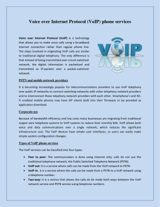 Voice over Internet Protocol (VoIP) phone services