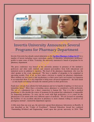 Top Pharmacy College in UP