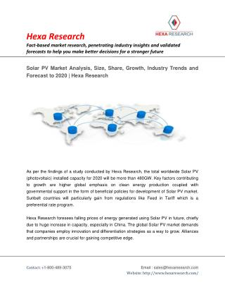 Solar PV Market Share, Size, Growth, Industry Report and Forecast to 2020   Hexa Research