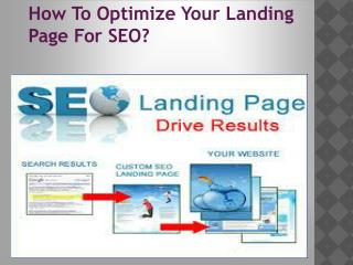 How to Optimize your landing Page for SEO?