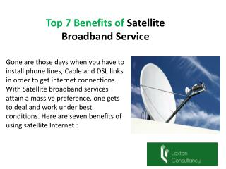 Top 7 Benefits of Satellite Broadband Service