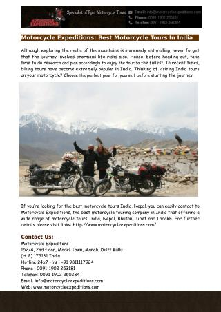 Best Motorcycle Tours In India - Motorcycle Expeditions