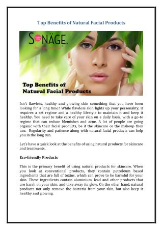 Top Benefits of Natural Facial Products