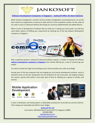 Software Development Companies in Singapore – Jankosoft Offers the Best Solutions