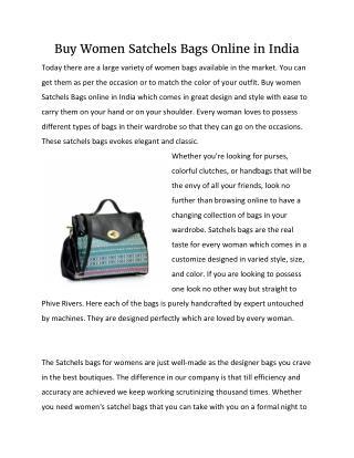 Buy Women Satchels Bags Online in India