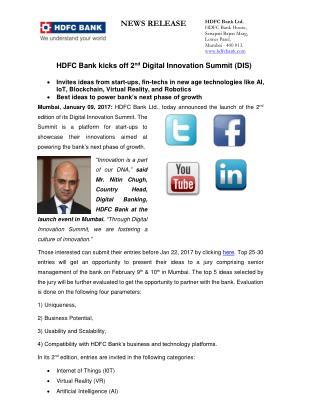 HDFC Bank kicks off 2nd Digital Innovation Summit (DIS) on February 9th & 10th in Mumbai.