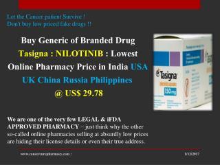 Buy Nilotinib Brand Tasigna 150 Capsules  @ US$ 29.78