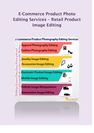 E-Commerce Product Photo Editing Services – Retail Product Image Editing