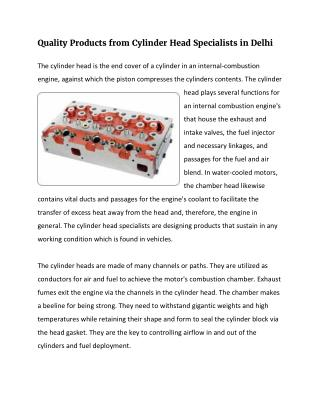 Quality Products from Cylinder Head Specialists in Delhi