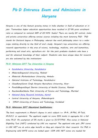 Ph.D Entrance Exam and Admissions in Haryana