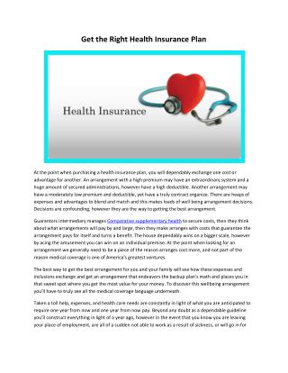 Get the Right Health Insurance Plan