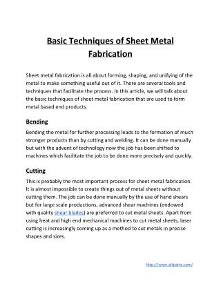 Basic Techniques of Sheet Metal Fabrication