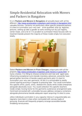 Simple Residential Relocation with Packers and Movers in Bangalore