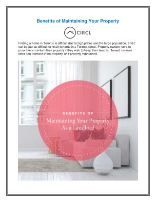 Benefits of Maintaining Your Property in Toronto
