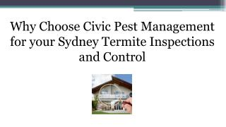 Why Choose Civic Pest Management for your Sydney Termite Inspections and Control