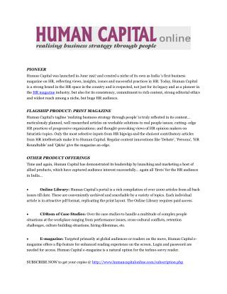 Human Capital Online! Realizing Business Strategy Through People