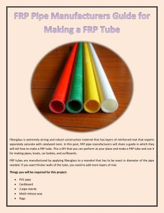 FRP Pipe Manufacturers Guide for Making a FRP Tube