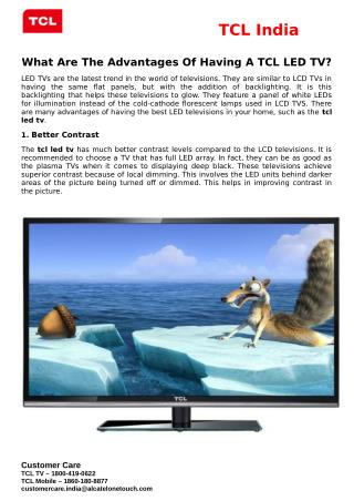 What Are The Advantages Of Having A TCL LED TV?
