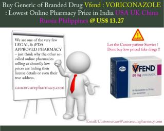 Buy Voriconazole 50 Mg Tablet (Brand Vfend 50) @ Us$ 13.27
