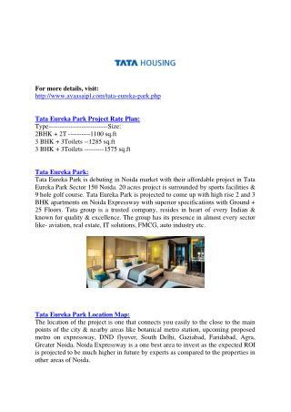 Tata Eureka Park#@ 9999911116 %# Tata Value Homes
