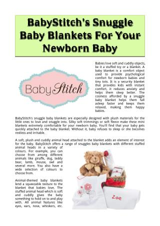 BabyStitch's Snuggle Baby Blankets For Your Newborn Baby