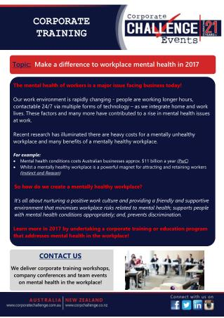 Make a difference to workplace mental health in 2017
