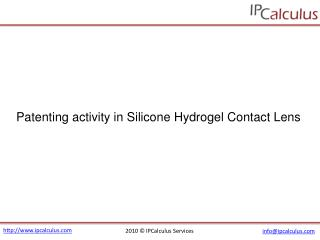 IPCalculus - Silicon Hydrogel Contact Lens Patenting Activit