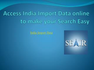 Access India Import Data online to make your Search Easy