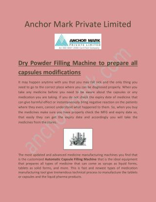 Rapid Mixer Granulator, Semi Automatic Capsule Filling Machine Anchormark