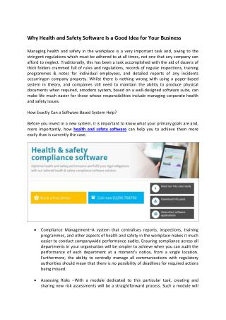 Why Health and Safety Software Is a Good Idea for Your Business