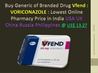 Buy Brand Vfend - Voriconazole 50 Mg Tablet @ Us$ 13.27