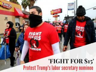 'Fight for $15' protest Trump's labor secretary nominee