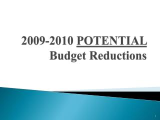 2009-2010 POTENTIAL Budget Reductions