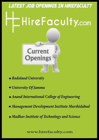 Latest Academic Jobs Opening In HireFaculty