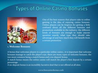 Types of Online Casino Bonuses