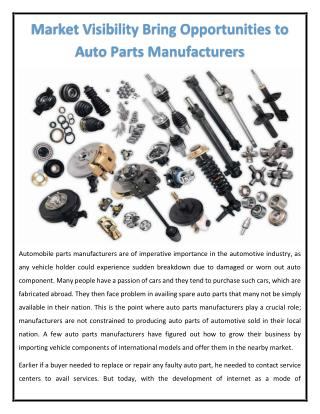 Market Visibility Bring Opportunities to Auto Parts Manufacturers